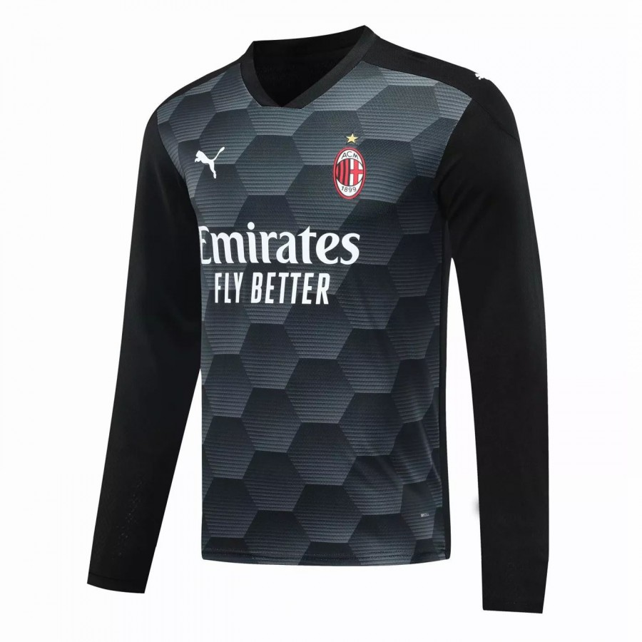 Maglia manica lunga portiere AC Milan Nera 2020 2021   Best Soccer Jerseys